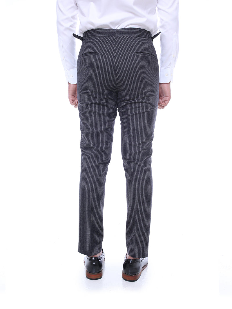 Trousers With Side Adjusters -  Charcoal Grey Narrow Stripes
