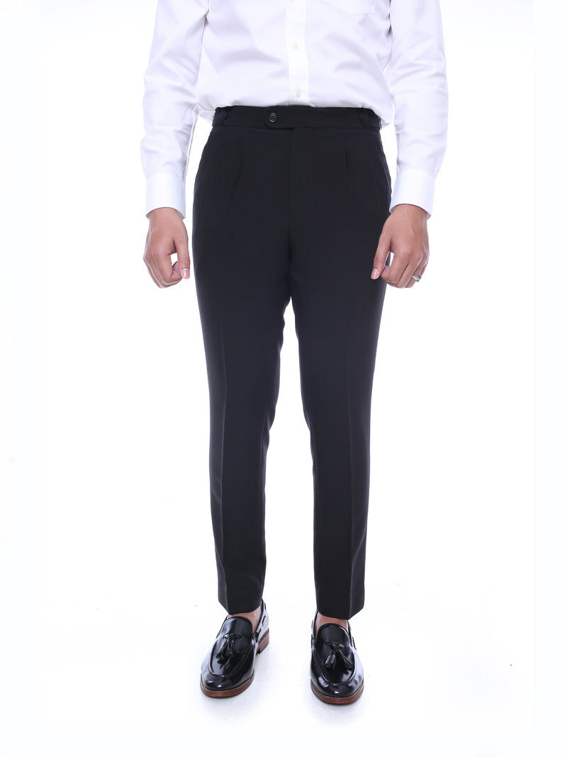 Trousers With Side Adjusters - Black Solid Plain (Stretchable)