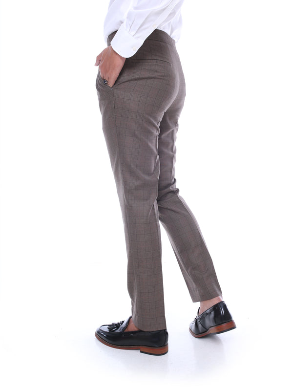 Trousers With Side Adjusters - Dark Brown Classic Checkered