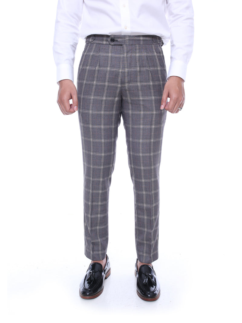 Trousers With Side Adjusters - Grey Modern Checkered