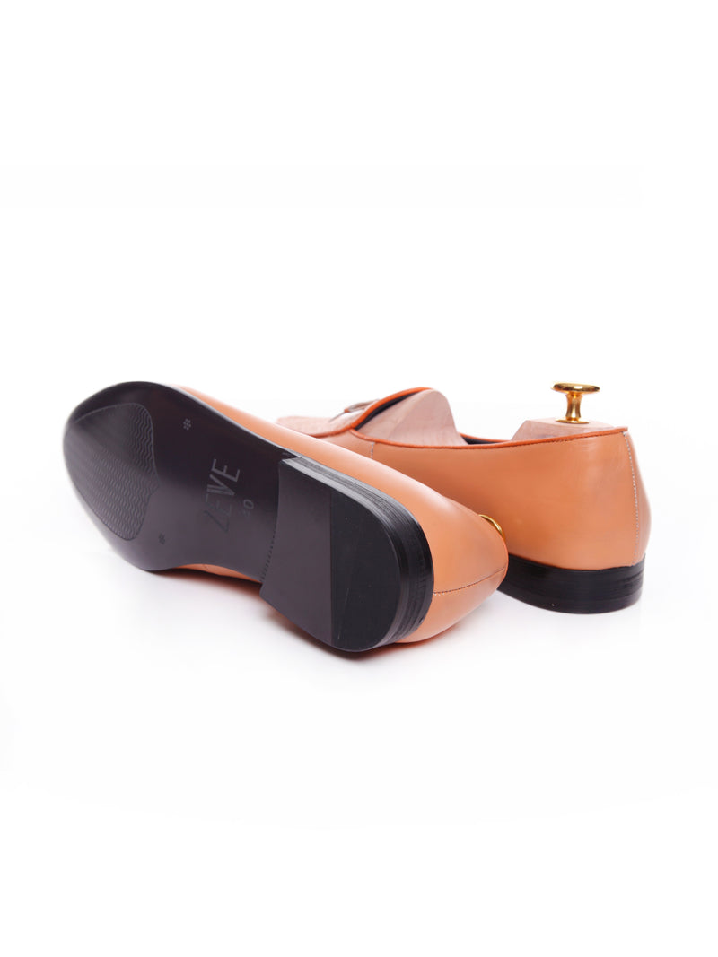 Women Belgian Loafer in Peach Snake Skin With Ribbon
