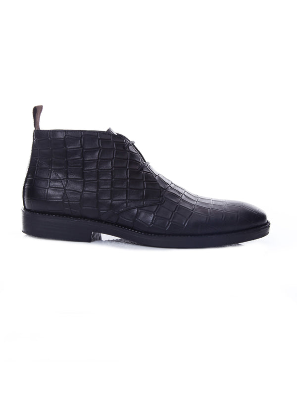 Chukka Boots - Black Crocodile Leather (Crepe Sole)