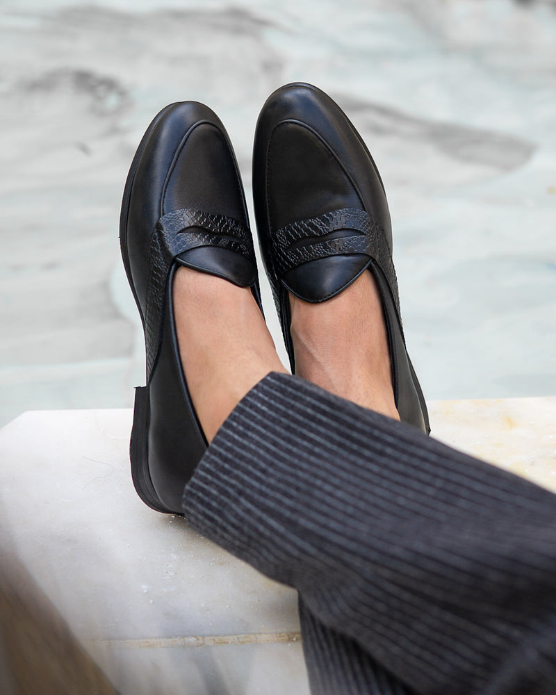 Belgian Loafer With Penny - Black Leather (Phyton Embossed Strap)