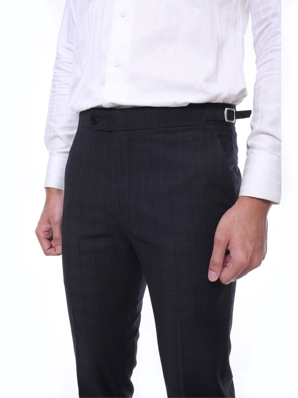 Trousers With Side Adjusters - Black Checkered