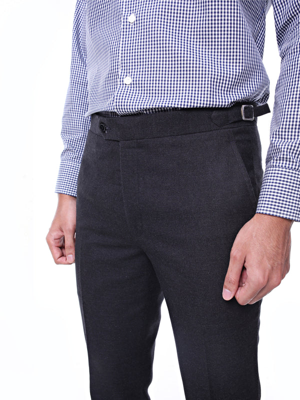 Trousers With Side Adjusters - Dark Grey Plain