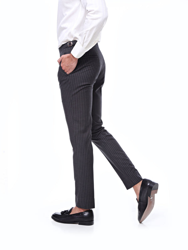 Trousers With Side Adjusters - Dark Grey Wide Stripes