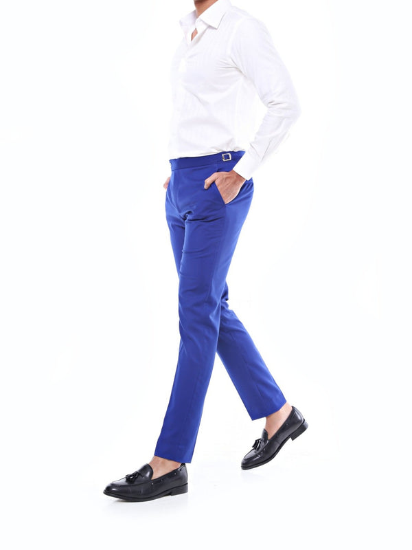 Trousers With Side Adjusters - Royal Blue Plain
