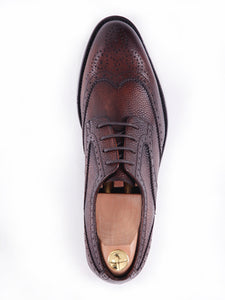 Derby Brogue Wingtip - Dark Brown Pebble Grain Leather Lace Up (Hand Painted Patina)