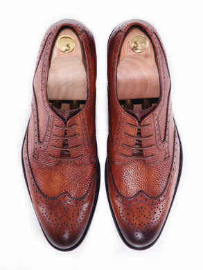 Derby Brogue Wingtip - Cognac Tan Pebble Grain Leather Lace Up (Hand Painted Patina)