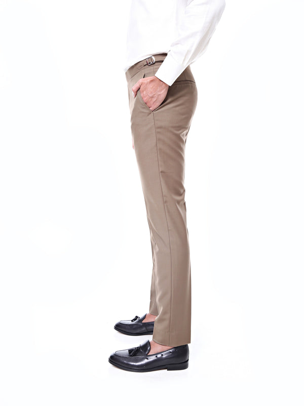 Trousers With Side Adjusters - Brown Khaki Plain