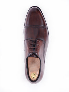 Derby Cap Toe - Dark Brown Braided Lace Up (Hand Painted Patina)