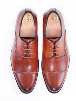 Derby Cap Toe - Cognac Tan Braided Lace Up (Hand Painted Patina)