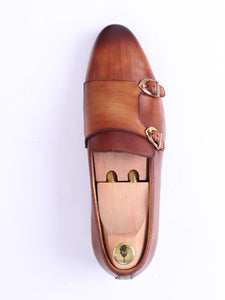 Loafer Slipper - Cognac Tan Double Monk Strap (Hand Painted Patina)