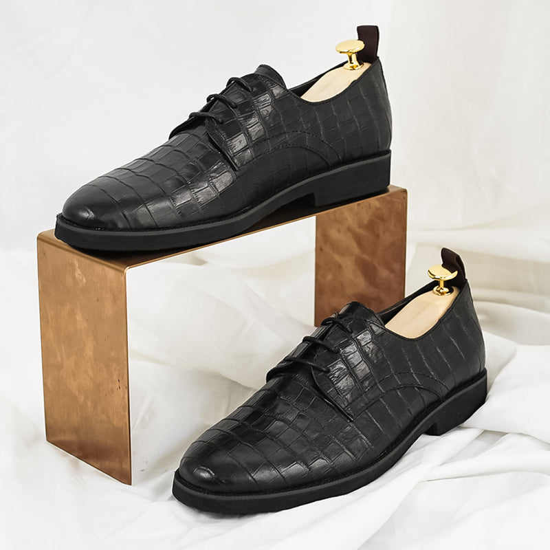 Derby Lace Up - Black Croco Leather (Crepe Sole)