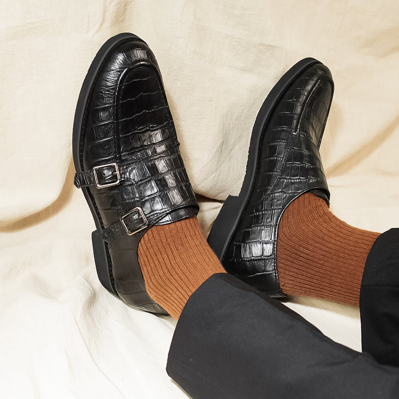Double Monk Strap - Black Croco Leather (Crepe Sole)