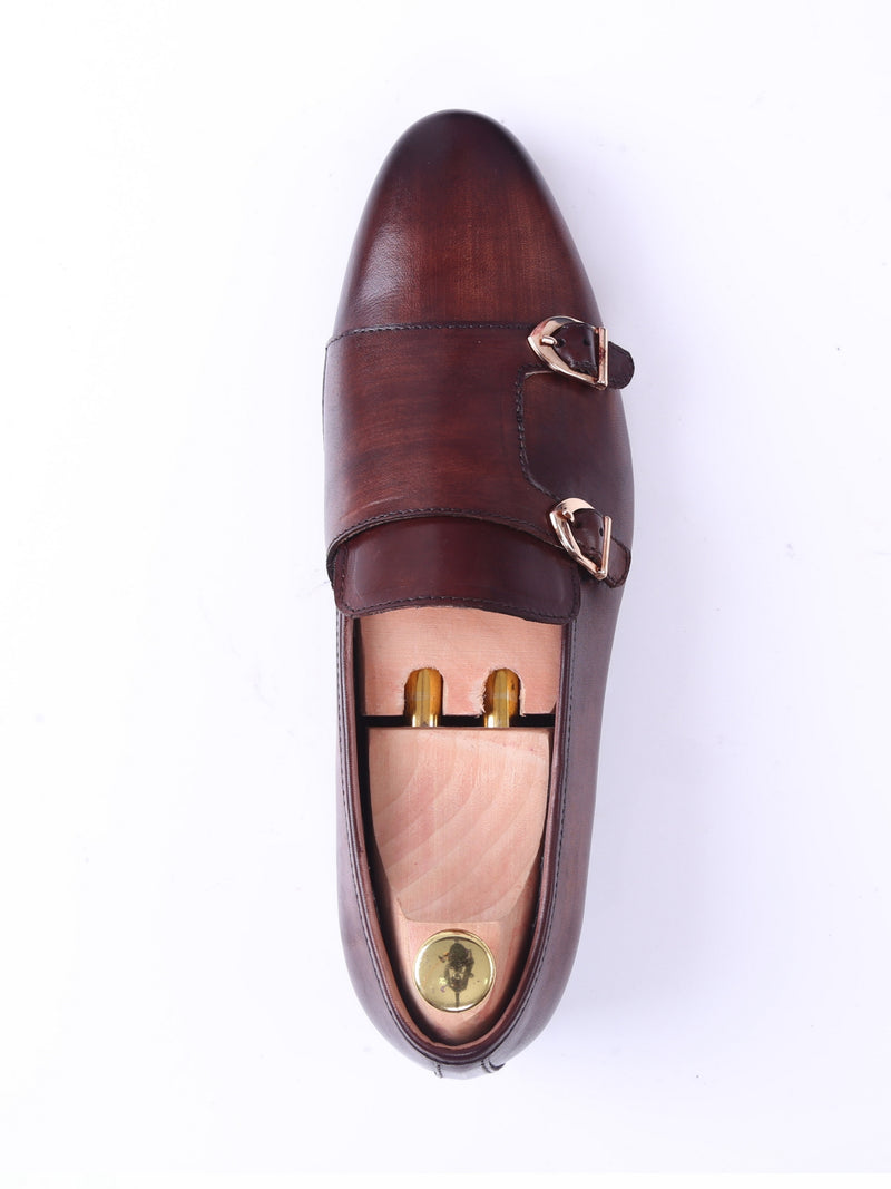 Loafer Slipper - Dark Brown Double Monk Strap (Hand Painted Patina)