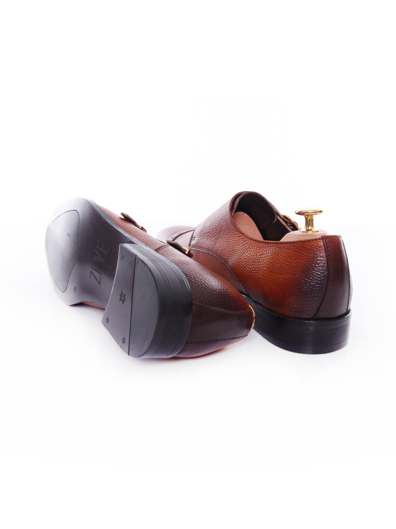 Double Monk Strap - Cognac Tan Pebble Grain Leather (Hand Painted Patina)