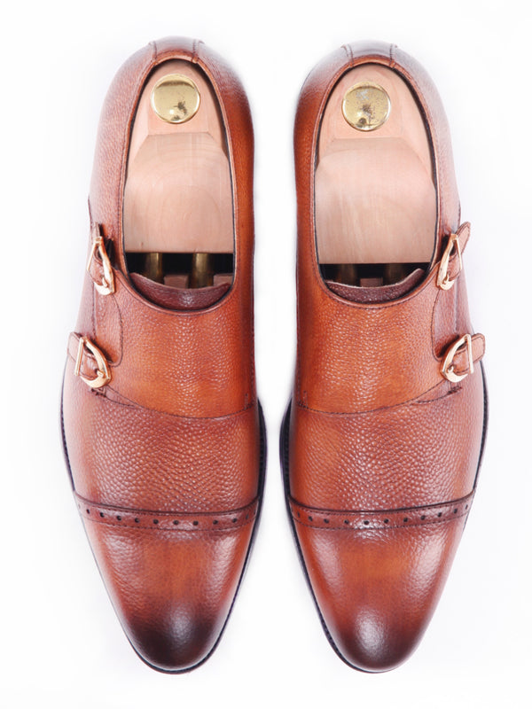 Double Monk Strap Dress Shoes - Cognac Tan Pebble Grain Leather (Hand Painted Patina)