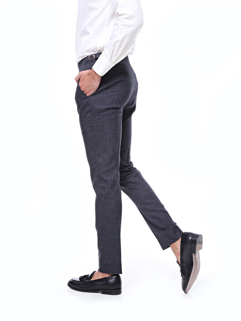 Trousers With Side Adjusters - Dark Grey Textured