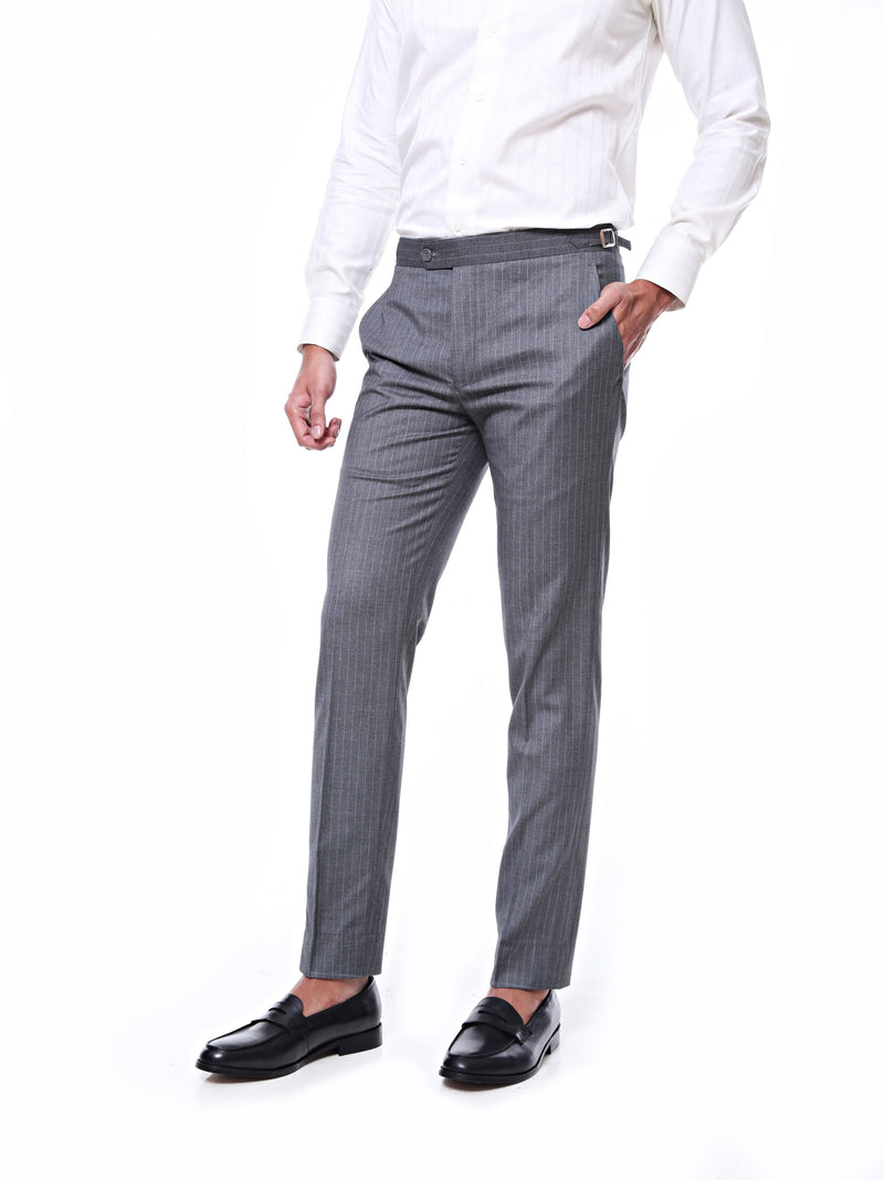 Trousers With Side Adjusters - Grey Wide Stripes