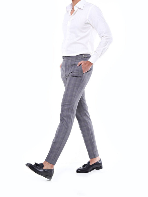 Trousers With Side Adjusters- Grey Classic Checkered Thin Purple Lines