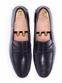 Penny Moccasins - Black Handsewn Leather