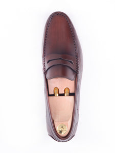 Penny Moccasins - Dark Brown Handsewn Leather (Handpainted Patina)