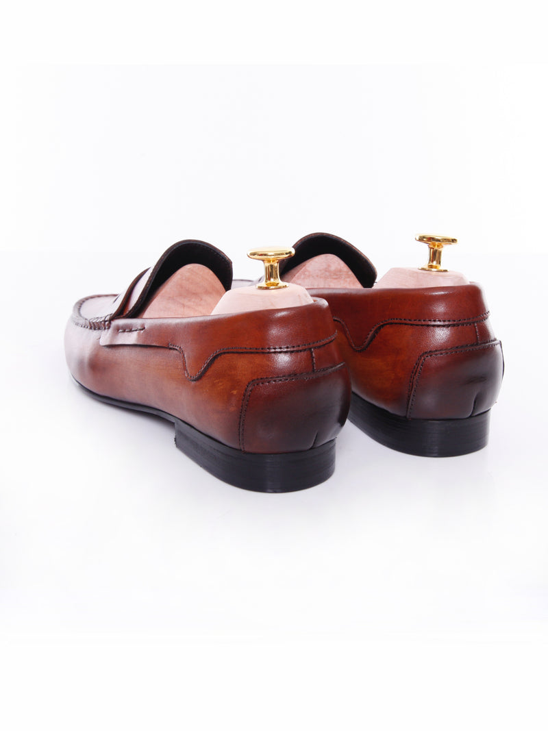 Penny Moccasins - Cognac Tan Handsewn Leather (Handpainted Patina)