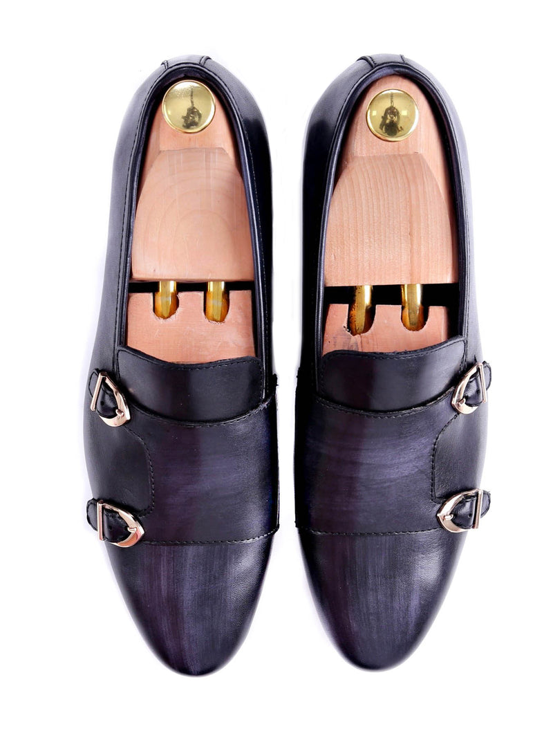 Loafer Slipper - Black Grey Double Monk Strap (Hand Painted Patina)