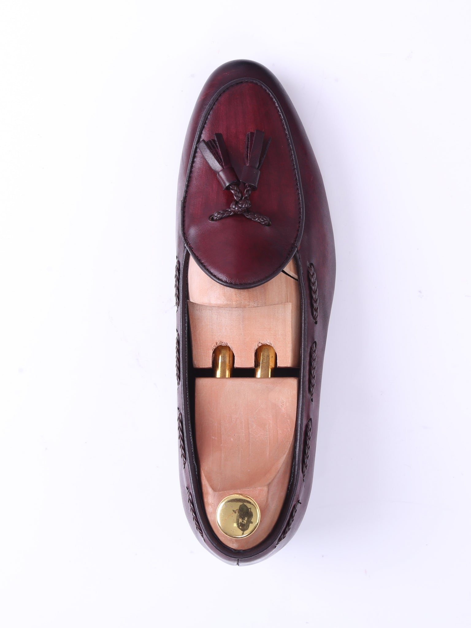 Shoes Belgian Loafer - Red Burgundy With Tassel (Hand Painted Patina)