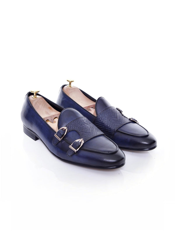 Belgian Loafer - Dark Blue Snake Skin Double Monk Strap (Hand Painted Patina)