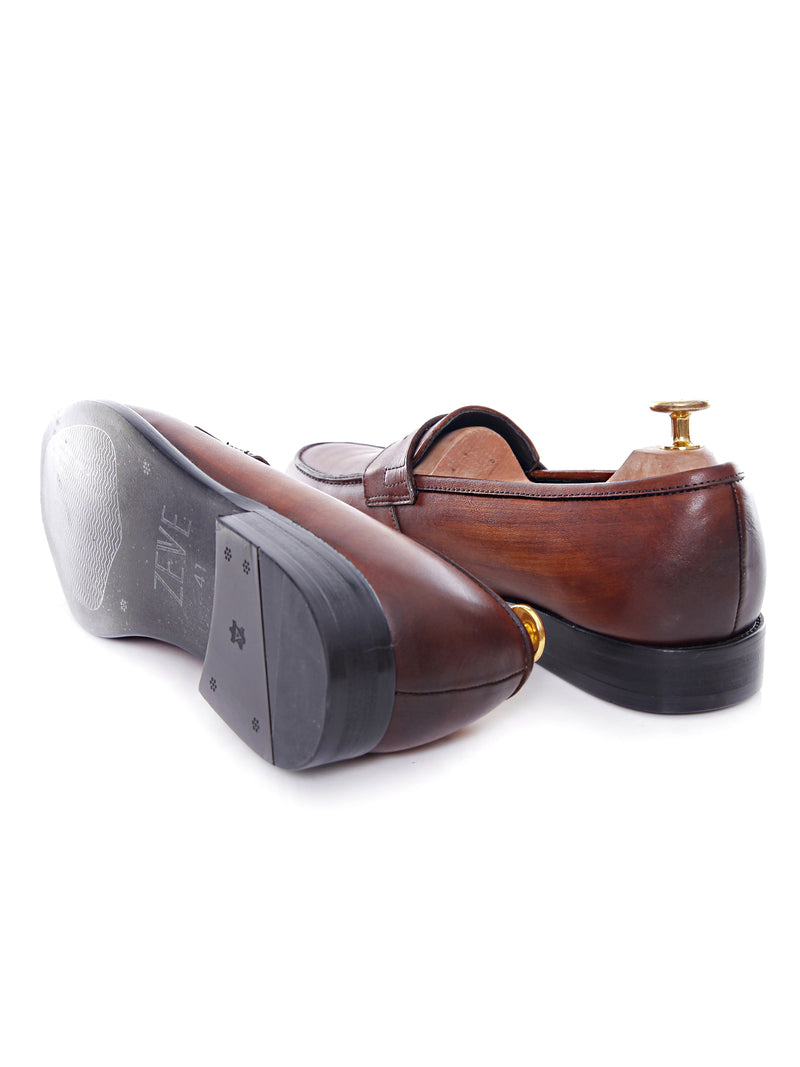 Penny Loafer - Cognac Tan (Hand Painted Patina)