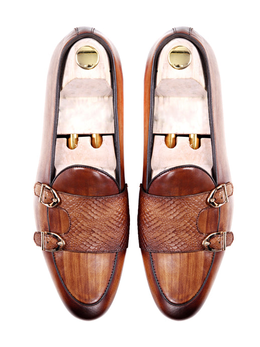 Belgian Loafer - Cognac Tan Snake Skin Double Monk Strap (Hand Painted Patina)