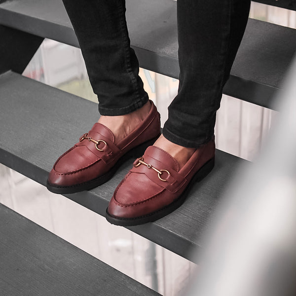 Penny Loafer Horsebit Buckle - Red Maroon Nubuck Leather (Crepe Sole)
