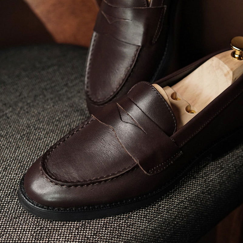 Penny Loafer - Coffee (Crepe Sole)