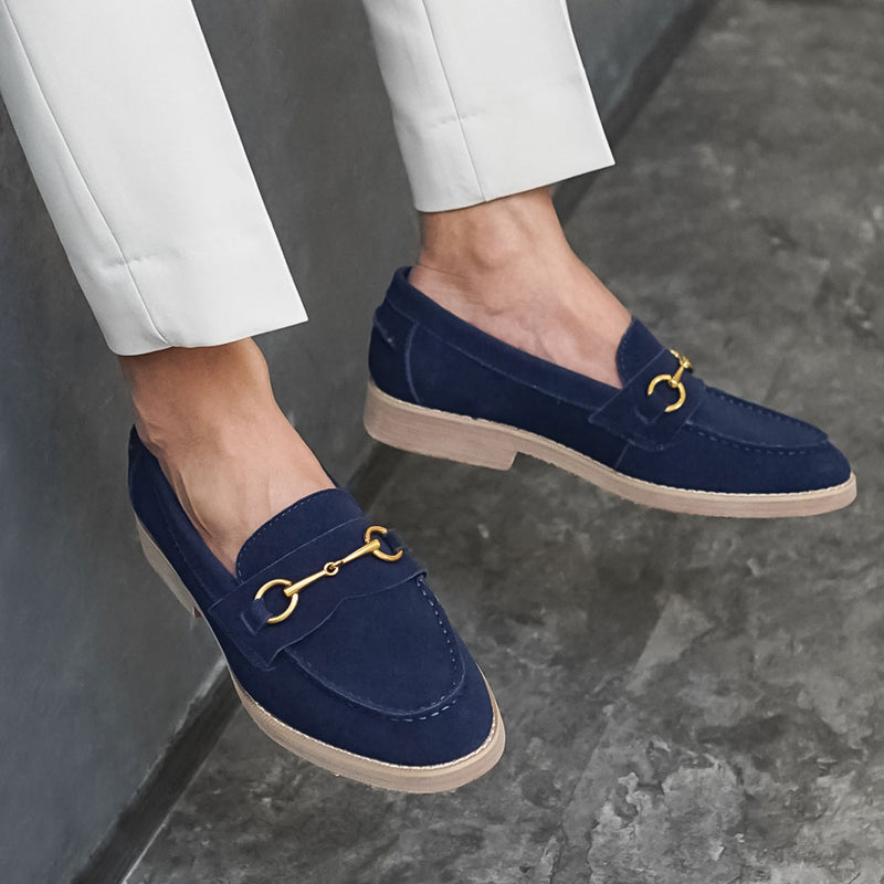 Penny Loafer Horsebit Buckle - Navy Blue Suede Leather (Brown Crepe Sole)