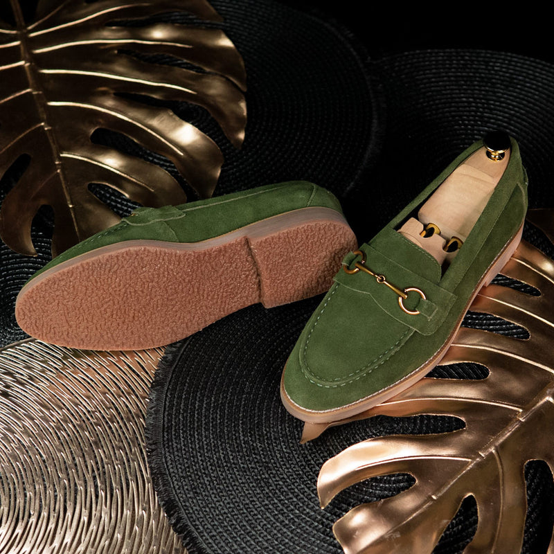 Penny Loafer Horsebit Buckle - Olive Green Suede Leather (Brown Crepe Sole)