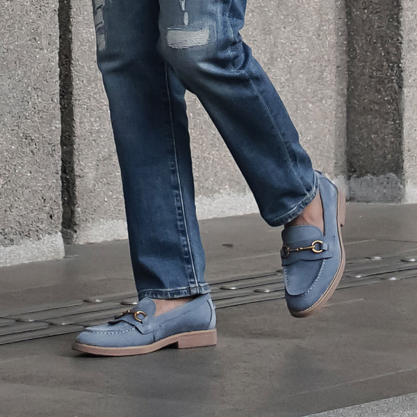 Penny Loafer Horsebit Buckle - Sky Blue Nubuck Leather (Brown Crepe Sole)