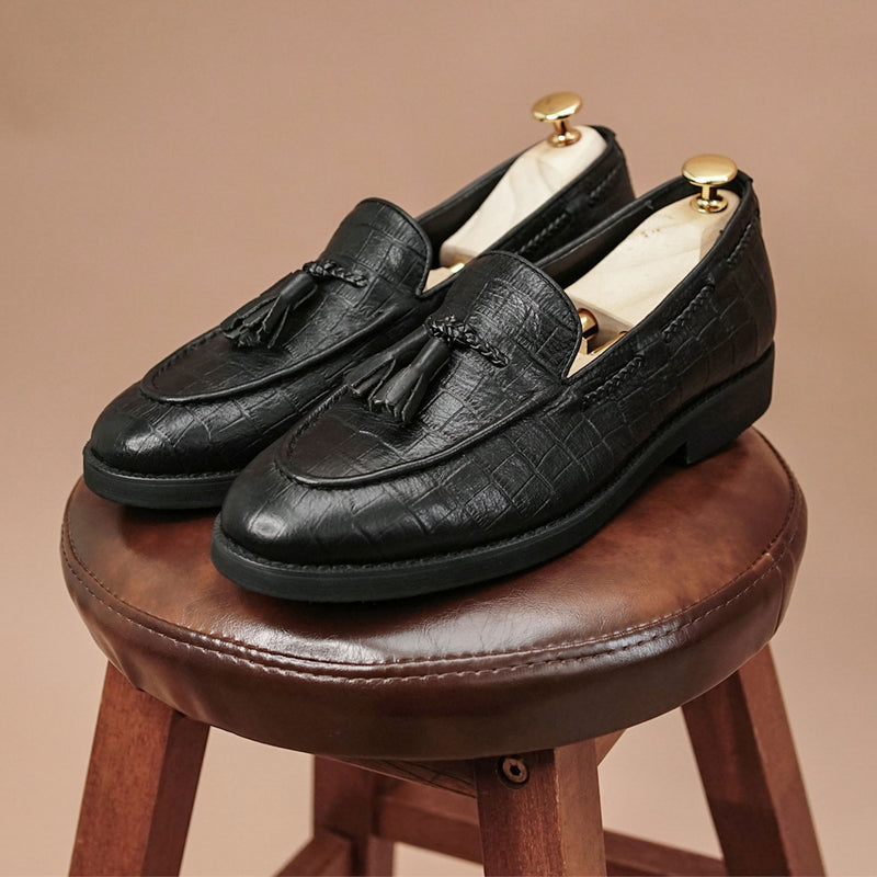 Tassel Loafer - Black Croco Leather (Crepe Sole)
