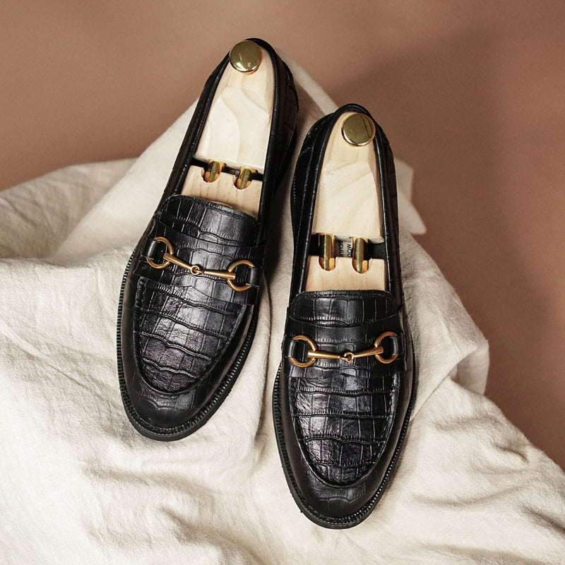 Penny Loafer Horsebit Buckle - Black Croco Leather (Crepe Sole)