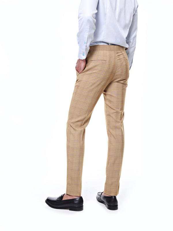 Trousers With Side Adjusters - Light Brown Checkered