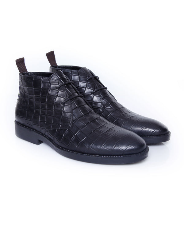 Chukka Boots - Black Croco Leather (Crepe Sole)