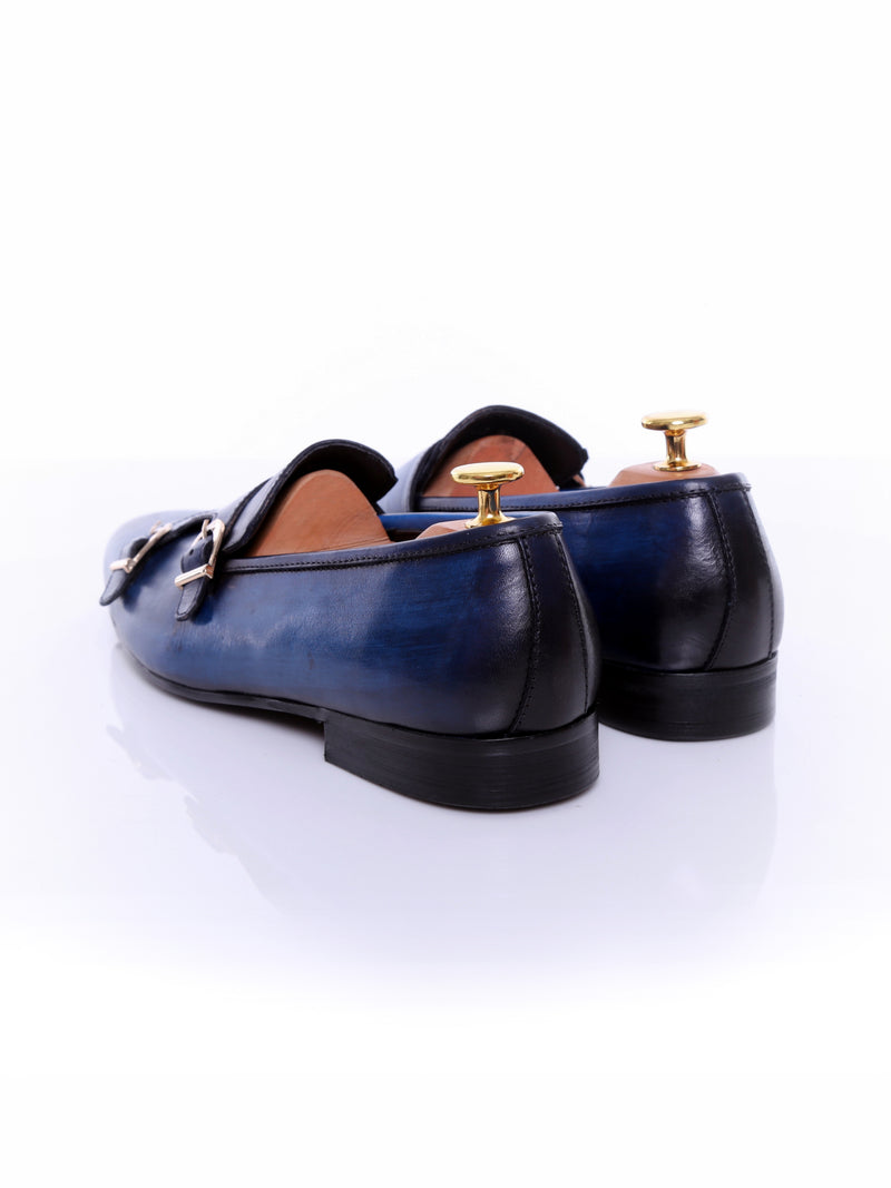Loafer Slipper - Electric Blue Double Monk Strap (Hand Painted Patina)