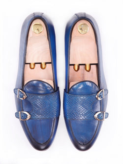 Belgian Loafer - Electric Blue Snake Skin Double Monk Strap (Hand Painted Patina)