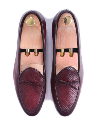 Belgian Loafer - Red Burgundy Snake Skin With Ribbon (Hand Painted Patina)