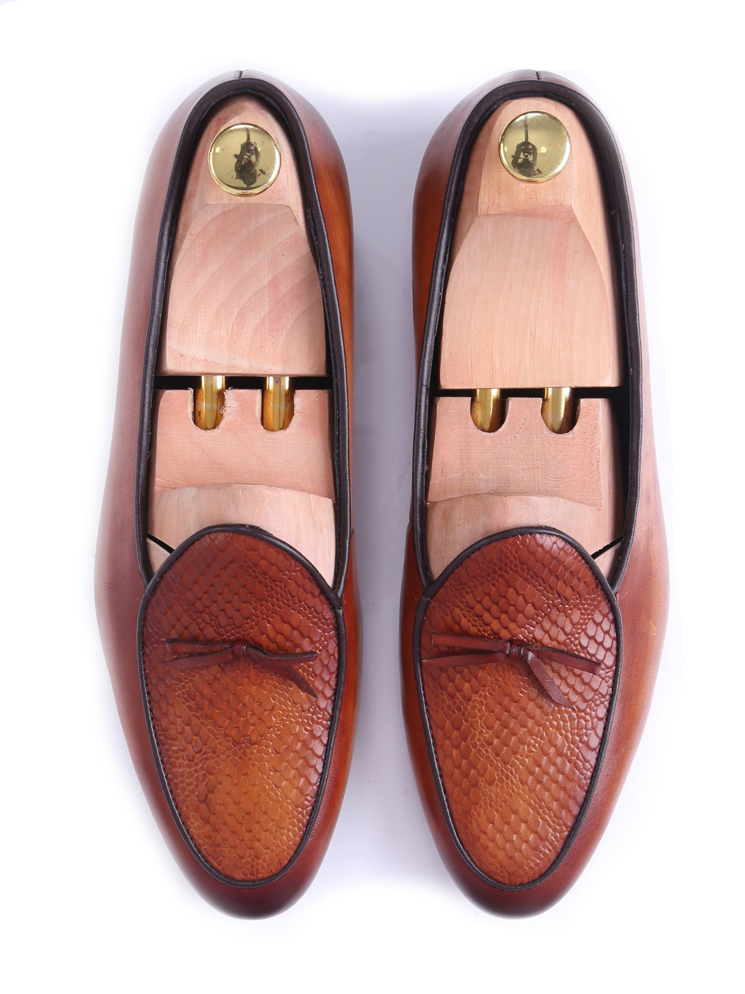 Shoes Belgian Loafer - Cognac Tan Snake Skin With Ribbon (Hand Painted Patina)