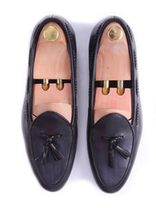 Belgian Loafer - Black Grey With Tassel  (Hand Painted Patina)