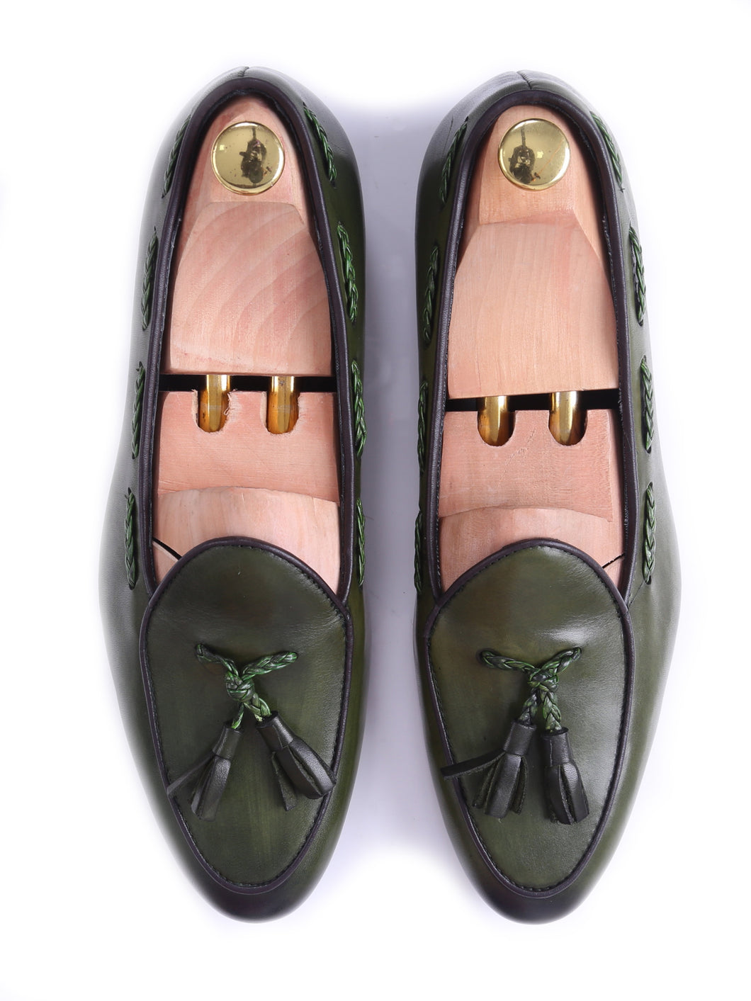 Belgian Loafer - Moss Green With Tassel  (Hand Painted Patina)