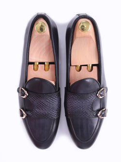 Belgian Loafer - Black Grey Snake Skin Double Monk Strap (Hand Painted Patina)
