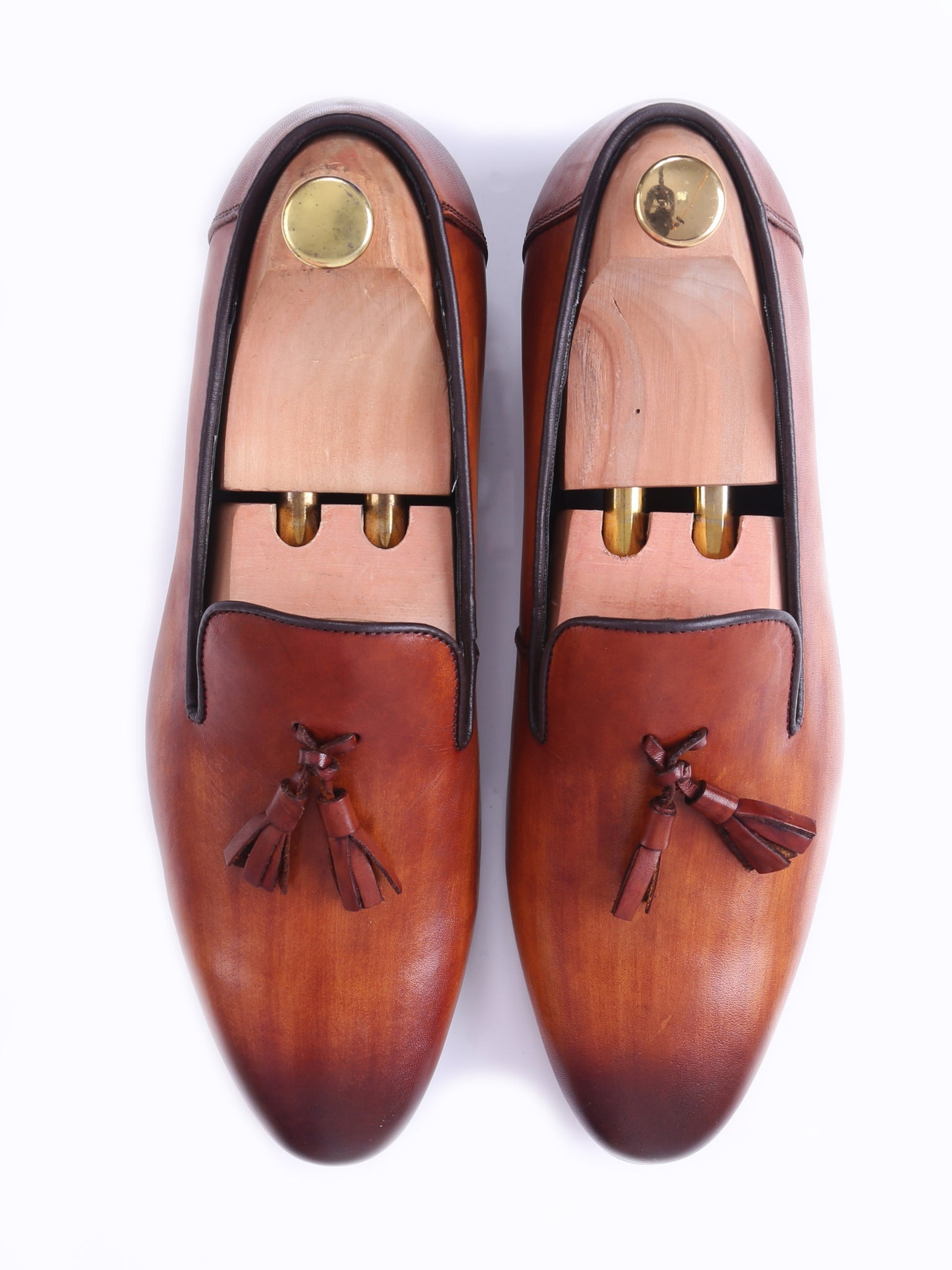 Shoes Loafer Slipper - Cognac Tan (Hand Painted Patina)